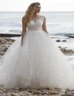 Bruidsjurk korset kant stroken rok tulle Le Chic bruids-galawereld