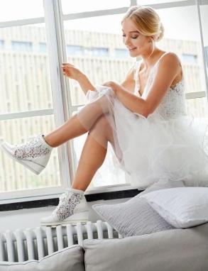 Bruidssneakers Hoog Model Leer Kant Sale Le Chic bruids-galawereld-Noord-Holland